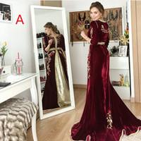 abaya dubai gece önlükleri toptan satış-Burgendy Akşam Resmi Modelleri 2020 Abiye Giyim Elbise Akşam Wear Ortadoğu Dubai Abaya Kaftan elbiseler de soirée Abendkleider elbiseler