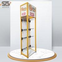 Wholesale Durable metal cosmetic makeup brush display rack Makeup Floor Stand Display with hooks wiper display shelf