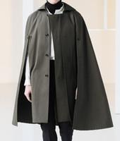 uzun siyah kaşmir ceket toptan satış-Erkek Yün Kaşmir Pelerin Şal Coat Yaka Uzun Pelerin Kalınlaşmak Gotik Uzun Lüks Dış Giyim Yüksek Kalite Ordu Siyah Gri