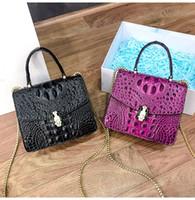Wholesale purple crocodile handbag resale online - High Quality Crocodile skin pattern Designer fashion women luxury bags lady pu Leather handbags brand bags purse shoulder tote Bag