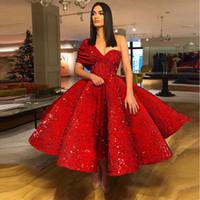 té uno al por mayor-Glitter largo Arabesco 2019 vestidos de noche de un hombro abendkleider hinchada rojo con lentejuelas longitud de té Vestidos de baile del dulce 16 vestido de quinceañera