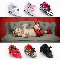 ingrosso tacchi alti per bambini-Ins 0-1t scarpe per bambini scarpette per neonati scarpe per bambina fiocchi fiocchi leopardo principessa Scarpe Moda scarpe col tacco alto per bambini Mocassini Soft First Shoe A4964