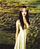 ingrosso ragazze nude stampa hd-giovane ragazza cinese nuda in abito bianco nel paesaggio bella di alta qualità dipinta a mano HD stampa arte pittura a olio su tela multi-dimensioni p176