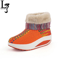6ed56e29c76 Wholesale fabric painting designs canvas for sale - Women Winter Boots  Fashion Design Woven Boots for