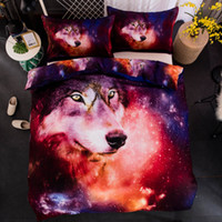 Wholesale twin wolf print bedding sets online - Animal D Wolf Comforter Bedding Sets King Twin Queen Size Family Bed Cover Linen Luxury Duvet Cover Set Bed Sheets Bedspread