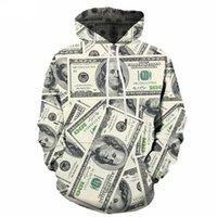 plus größe 3d drucken hoody groihandel-Neuheit Geld Hoodie Männer Lustige Sweatshirts Unisex 3d EURO Print Hoody Pullover Trainingsanzug Benutzerdefinierte Plus Größe S-6XL Herrenbekleidung Ypf478
