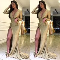 Wholesale sparky dresses resale online - Golden Sequin Long Sleeve Prom Evening Dresses Arabic Deep V neck Slit Sparky Sexy Floor Length Special Occasion Gowns