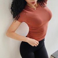 vestidos cortos deportivos al por mayor-2019 AMI Spring Sports Shirt Mujeres High Elastic Tight Tops Vestido de manga corta en seco Running Fitness T-shirt Yoga Shirts Venta caliente