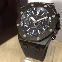 Wholesale flyback chronograph watch for sale - 19 Mens luxury Submarine N8 factory black Miyota with smooth sweeping flyback chronograph L stainless steel case Stopwatch Rubber Watches