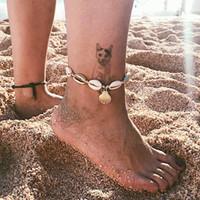 pieds fille sandales achat en gros de-Femmes Boho Shell Charme Bracelets De Cheville Mode Fille Sandales Aux Pieds Nus Ankle Bracelet D'été Plage Coquillage Pied Bijoux Cadeau LJJT1421