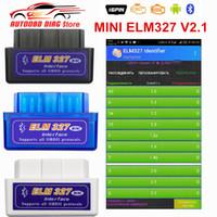 lector de códigos automáticos al por mayor-Alta calidad Super MINI ELM327 Bluetooth V2.1 OBD2 Auto Scanner ELM 327 para Android Torque OBDII Herramienta de diagnóstico del coche Lector de códigos