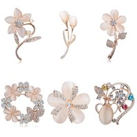 Wholesale garment flowers for sale - Group buy Rinhoo Classic Exquisite Female Opal Crystal Brooches Pin for Women Wedding Bouquets Flower Leaf Brooch Pin Garment Jewelry Gift