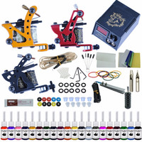 Wholesale body kits for sale - Group buy Complete Tattoo Kit Tattoo Machines Gun Black Ink Set Power Supply Grips Body Arts Tools Set Permanent Makeup
