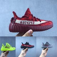 kremalı kız toptan satış-Çocuklar Koşu Ayakkabıları Kanye Statik Zebra Bebek Krem Beyaz BELUGA Çocuk Spor Ayakkabı Toddler Eğitmenler Erkek Kız Çocuk Bred Sneakers