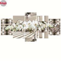 orquídea imagens venda por atacado-5 pcs 5D, diy, Pintura Diamante orquídea branca, Completa, Diamante Bordado, imagem 3d, Ponto Cruz, Diamante Mosaico, Natureza morta, decoração de casa