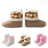 Wholesale soft soled toddler boots for sale - Newborn Infant Baby Girl Ribbon Bowknot Shoes Snow Boots Toddler Soft Sole First Walkers Children Warm Cotton Fleece Boots