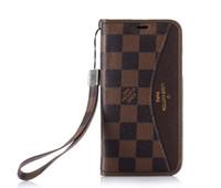 iphone handabdeckung großhandel-Klassisches Muster Designer Telefon Fall mit Handschlaufe für iPhone X XS MAX 8 plus 7 plus Fall Leder Geldbörse mit Halter und Flip Shell