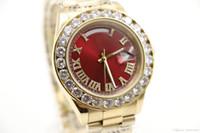 relogios de rosto amarelo venda por atacado-Alta Qualidade de ouro amarelo Dia-Data Rosto Vermelho grande relógio de diamantes homens automático safira 18 K fecho original Mecânica WristWatc