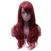 uzun kırmızı dalgalı saç toptan satış-Dantel peruk Uzun Dalgalı Kırmızı Peruk Kadının Isıya Dayanıklı Sentetik Kadın Peruk Siyah Beyaz Kadınlar Için Sahte Saç Adet