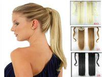 envolva as extensões de cabelo da cauda de pony venda por atacado-Ponytail NATURAL Clipe Na Extensão Do Cabelo Envoltório Rabo De Cavalo Pony Falso Peruca como Como humano