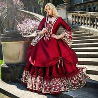 ingrosso abito di sfera vittoriano prom-Principessa medioevale Fantasy Quinceanera vittoriana di Halloween Masquerade Ball Prom Dress Gown Queen Puffy Red Sweet 16 Dress
