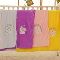 manta de bebé de calidad al por mayor-Nuevas llegadas Unicorn Blanket Baby Animal Blanket Children Flannel Buena calidad Cumpleaños para regalo Niños Popular Varios colores 17yfH1