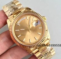 Wholesale men's luxury watches online - High Quality Men s Luxury Sport Watch K Gold DAYDATE Series MM Gold Dial High Quality Automatic Movement Sapphire Original Clasp