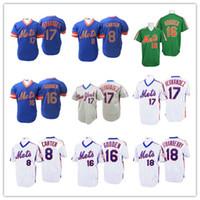 keith hernandez camisa venda por atacado-Homens New York Retro Mets Beisebol 8 Gary Carter 16 Dwight Gooden 18 Darryl Morango 17 Keith Hernandez Jerseys Costurado Verde Branco Azul