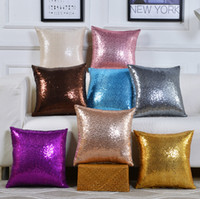 Wholesale color pillowcases resale online - 40 cm glitter sequins pillowcase solid color cushion home sofa decorative car comfortable decor waist cushion cover Pillowslip LJJA2467