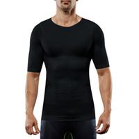 nylon-tank tops für männer großhandel-Männer Compression T-Shirt Body Shaper Abnehmen Tops Elastic Muscle Tank Shapewear C55K Verkauf