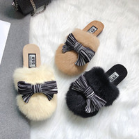 Wholesale home winter flip flop for sale - Group buy harajuku style striped bow home slides women flat heel all match mules shoes winter warm shoes fur slippers woman bow flip flops