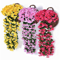 Wholesale wall baskets for flowers resale online - Artificial Violet Flower Wall Wisteria Basket Simulation Rattan Plant for Wedding Decorations Home Garden Party Decor