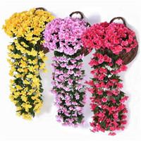 menekşe bitkileri toptan satış-Yapay Violet Çiçek Duvar Wisteria Basket Simülasyon Rattan Bitki Düğün Süsleme Ev Bahçe Partisi Dekor için