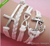 Wholesale indian wrap bracelets resale online - Charm bangle bracelets Indian Handmade Jewelry Statment Leather Bracelet Pulseras Cross Love Wrap Infinity Bracelets