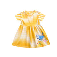 Wholesale easter clothes for babies for sale - Group buy 2020 Summer Easter Baby Stripe Dress Girls Cartoon Embroidered Bird Short Sleeve Princess Dresses for Kids Clothing M1068
