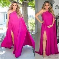 Wholesale red carpet dresses for pregnant for sale - Group buy Fuchsia One Shoulder High Split Side Evening Dresses for Pregnant Women Plus Size Chiffon Maternity Dresses Applique Long Prom Gowns