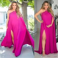 vestido largo de maternidad con un hombro al por mayor-Fuchsia, un hombro, alto partido lateral, vestidos de noche para mujeres embarazadas, más el tamaño de gasa vestidos de maternidad apliques vestidos largos
