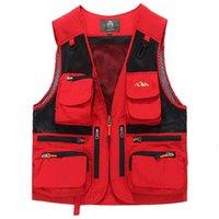 сетка фотографии жилет оптовых- Vest Men Multi Pockets Thin Summer Mesh Vest Sleeveless Jacket Waistcoat Men Journalist Photography 5XL