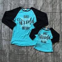 ropa de aspecto familiar al por mayor-los nuevos bebés de otoño / invierno Top Boutique camiseta de algodón ropa de los niños raglanes familia aspecto de la mama hace frío fuera larga
