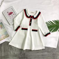 beste baumwoll-lange kleider großhandel-Beste verkaufende High-End-Mädchen Kleid 2019 Frühjahr neue Kleidung der Kinder Mädchen römische Baumwolle langärmeliges Kleid High-End-Kleider für Kinder