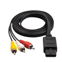 video oyunu av kablosu toptan satış-1.8 m 6FT AV TV RCA Video Kablosu Kablosu için SNES Nintendo N64 64 Video Oyunları için Oyun Küpü Kabloları