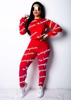 Wholesale red tutu leggings online - Women Champions Letter Print Tracksuit Long Sleeve T Shirt Top Pants Leggings Set Round Neck Outfits Sportswear Clothes Suit S XL
