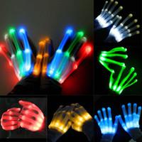 cadılar bayramı rave partisi toptan satış-LED Işık Parlayan Eldiven Parmak Aydınlatma Elektro Rave Party Dans İskelet Cadılar Bayramı Yeni