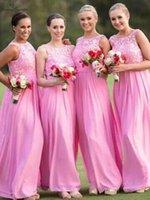 güzel şifon balo elbiseleri toptan satış-Güzel Pembe Gelinlik Modelleri Uzun Dantel Şifon A-Line Kat Uzunluk Yan Fermuar Hizmetçi Onur Elbise Gelinlik Modelleri Ucuz