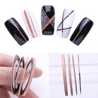 Wholesale 1mm stickers resale online - 4 Nail Striping Tape Lines Set Rose Gold Matte Glitter mm mm mm Adhesive Stickers Nail Art DIY Styling Tool