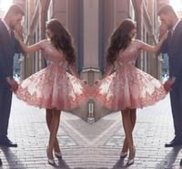 ingrosso fuori abiti rosa spalla-Dusty Pink New Arab Style Abiti da ritorno a scuola spalle spalle in pizzo con applicazioni maniche corte maniche corte Abiti da cocktail senza schienale