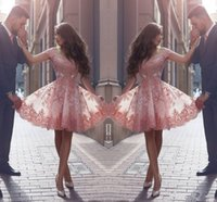 Wholesale new style dress making online - Dusty Pink New Arabic Style Homecoming Dresses Off Shoulders Lace Appliques Cap Sleeves Short Prom Dresses Backless Cocktail Dresses