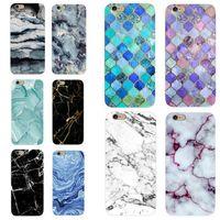 ingrosso silicone per pietra-Custodia in marmo lucido per iPhone X Custodie in similpelle per immagine morbida Custodia morbida in silicone IMD per iPhoneX 8 7 6 6S Plus