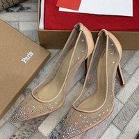 reçine ayakkabıları toptan satış-Kutu ile Kırmızı Alt Yüksek topuklu Rete fishnet tarzı Sivri Burun rhinestones Kristal bling Gümüş altın kadın Topuklu Parti Düğün Ayakkabı pompalar