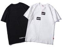 división t shirts al por mayor-Diseñador de moda marca etiqueta hombres camiseta manga corta mujeres Hip Hop Street ropa exterior CDG Split Box Logo Tops camiseta